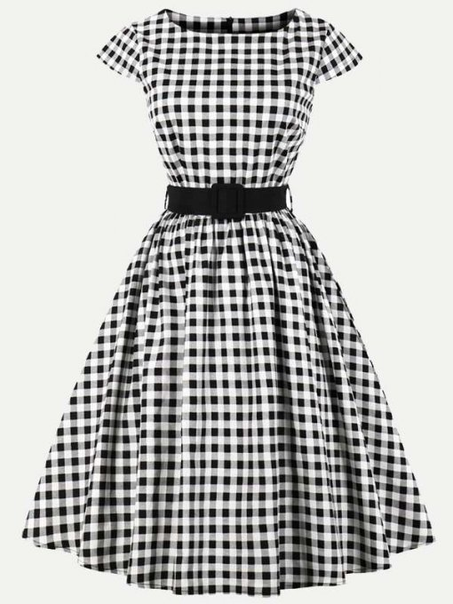 60s Rockabilly Plaid A Line Swing Dress