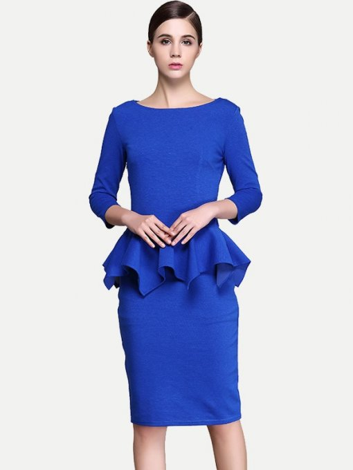 Womens Business Dress Blue Work Office Pencil Solid Color Long Sleeve Ruffles Knee Length Midi Dress