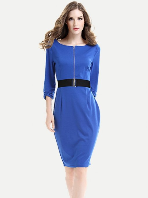 Womens Business Dress Work Business Office Pencil Solid Color Long Sleeve Belted Knee Length Midi Dress