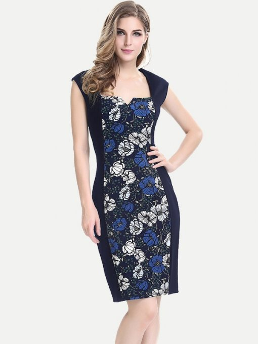 Womens Business Dress Work Office Pencil Floral Print Sleeveless Color Block Knee Length Midi Dress