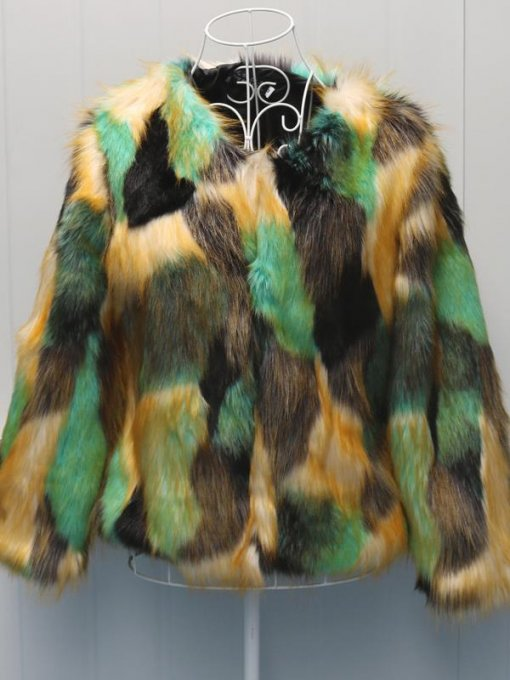 Vinfemass Color Block Thick Short Slim Faux Fox Fur Coat