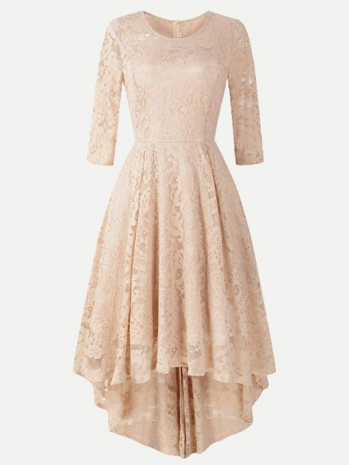 Elegant Irregular Hem Lace Party Skater Dress