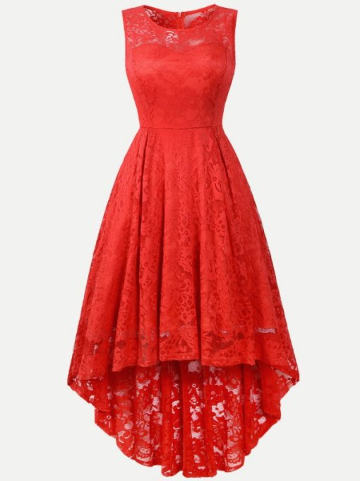 Lace Overlay Solid Sleeveless High Low Swing Dress