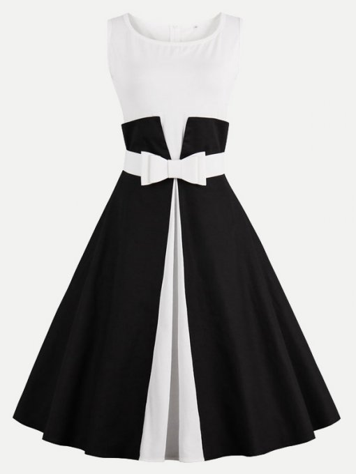 60s Black White Rockabilly Sleeveless Swing Dress