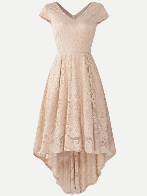 Lace Solid High Low Swing Dress With Sleeves