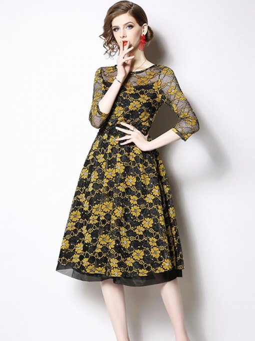 Retro Perspective Embroidery Flowers Slim Lace Party Dress