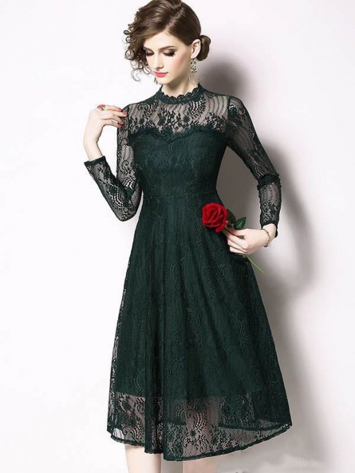 Solid Color Stand Collar Perspective Lace Party Skater Dress