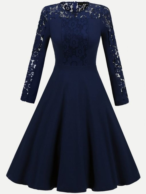 Contrast Lace Hollow Long Party Skater Dress
