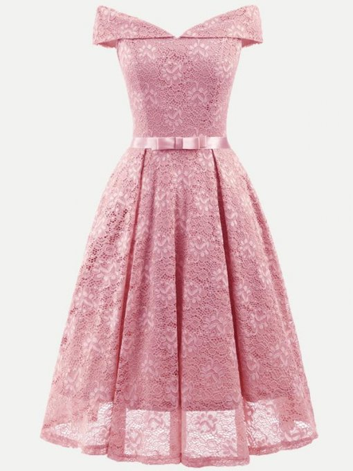 Boat Neck Sleeveless Bowknot Lace Party Skater Dress