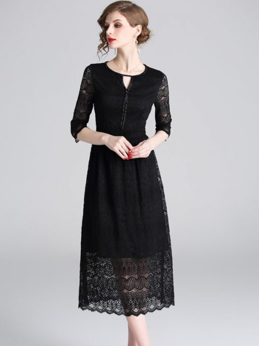 Solid Color Hollow Lace Party Dress