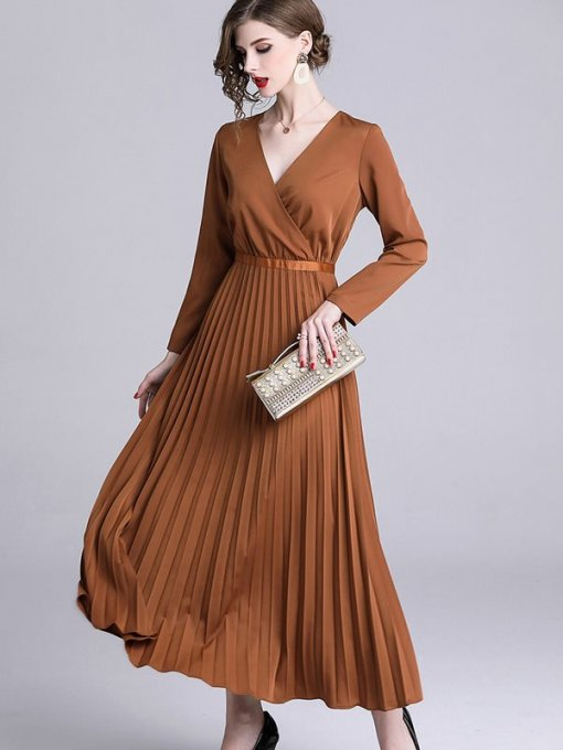 Vinfemass Solid Color V Neck Slim Pleated Long Evening Dress