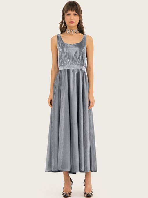 Silver Sleeveless Long Evening Gown