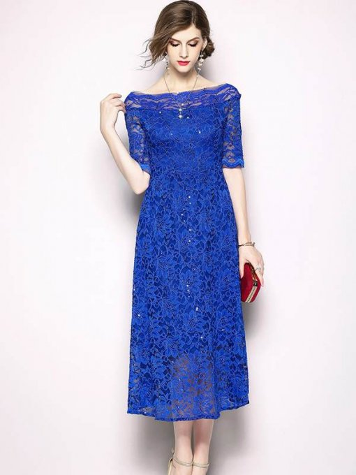 Boat Neck Lace Solid Color Long Evening Dress