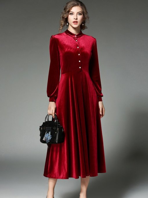 Vinfemass Solid Color Stand Collar Puff Sleeve Slim Velvet Long Evening Dress