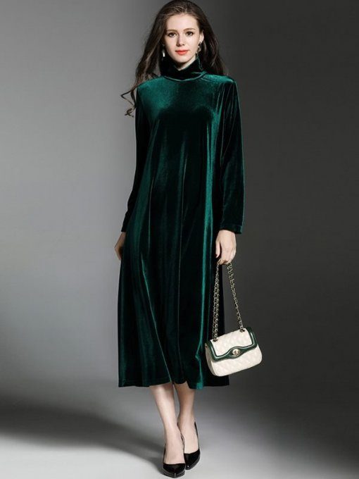 High Neck Velvet Solid Color Loose Long Evening Dress