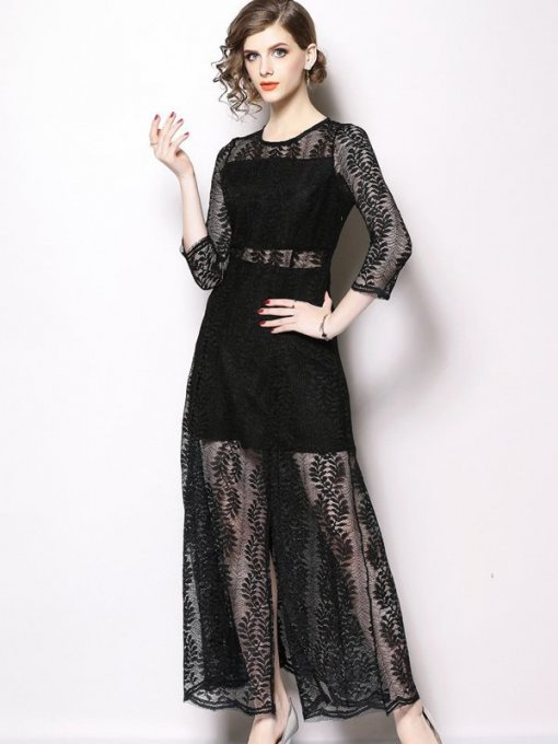 Solid Color Lace Hollow Slit Side Long Evening Dress