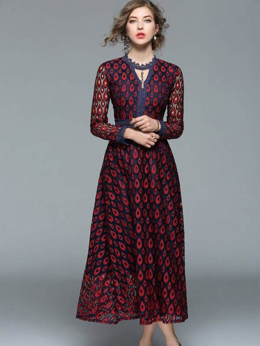 V Neck Geometrical Pattern Lace Long Evening Dress