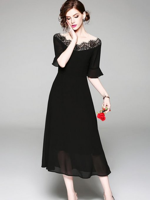 Vinfemass Flare Sleeve Chiffon Patchwork Long Evening Dress