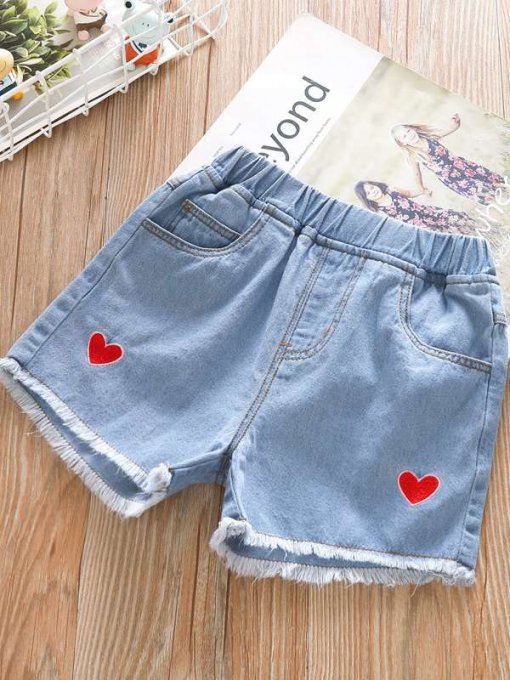 Toddler Girls Blue Solid Heart Print Denim Shorts