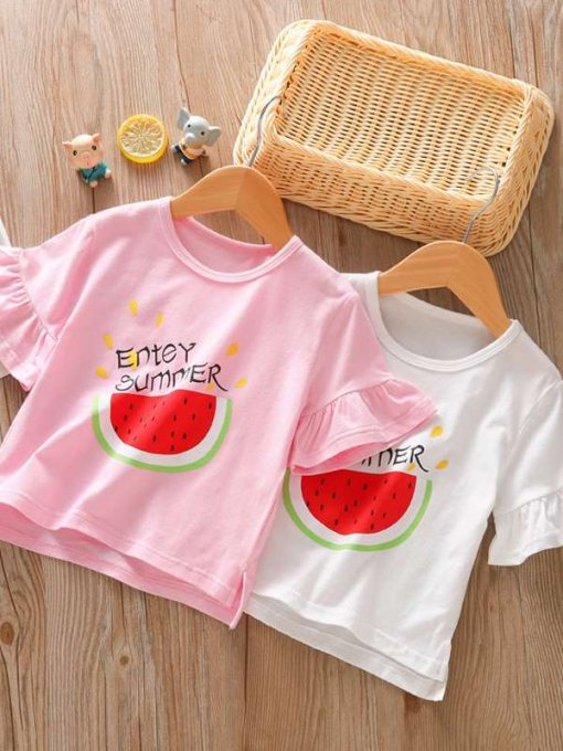 Kids Girls Watermelon Letter Print Ruffle T-shirt