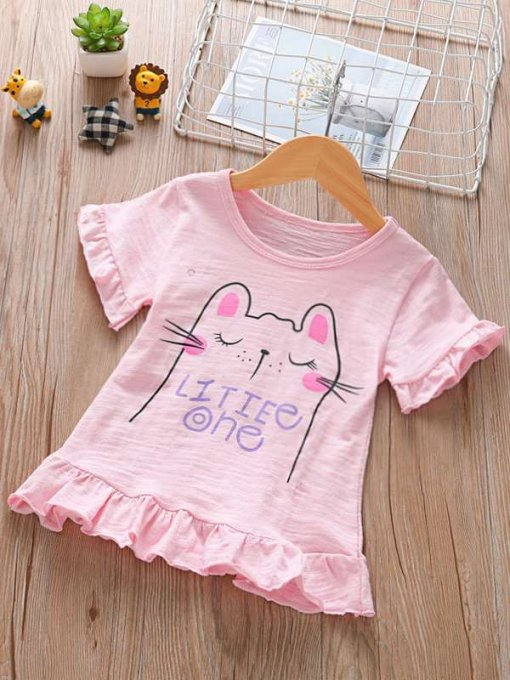 Toddler Girls Cats Letters Print Falbala Hem Cotton T-shirts