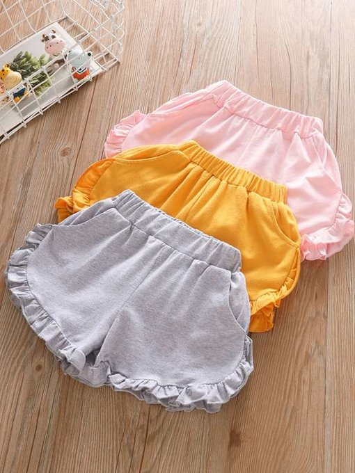 Toddler Girls Solid Color Falbala Hem Cotton Shorts