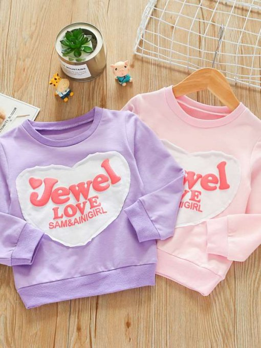 Toddler Girls Letters Print Cotton Long Sleeve Sweatshirt