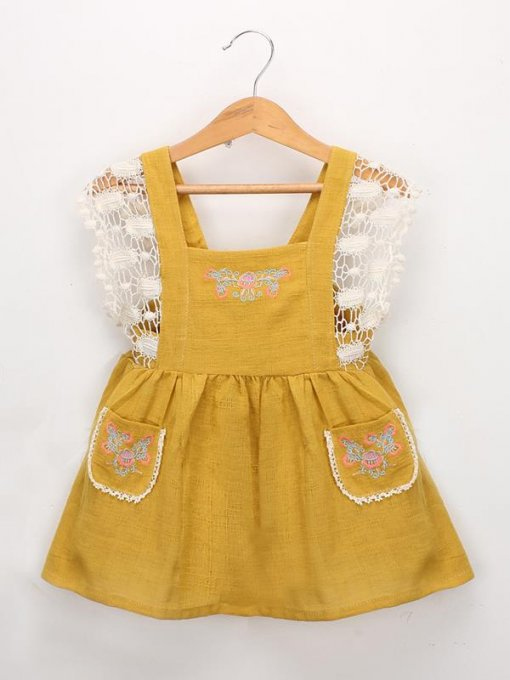 Toddler Girls Embroidered Lace Backless Dress