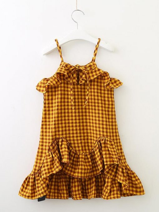 Toddler Girls Plaid Ruffle Hem Slip Dress