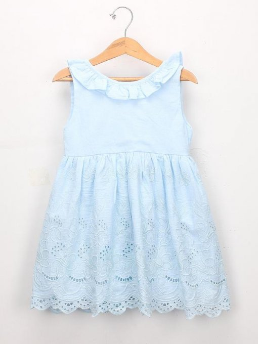 Toddler Girls Solid Embroidery Hollow Out Sleeveless Blue Dress
