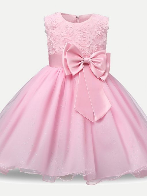 Toddler Girls Solid Lace Mesh Overlay Tutu Dress