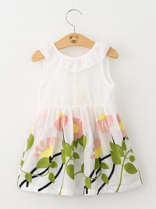 Toddler Girls Floral Bow Back Sleeveless Dress