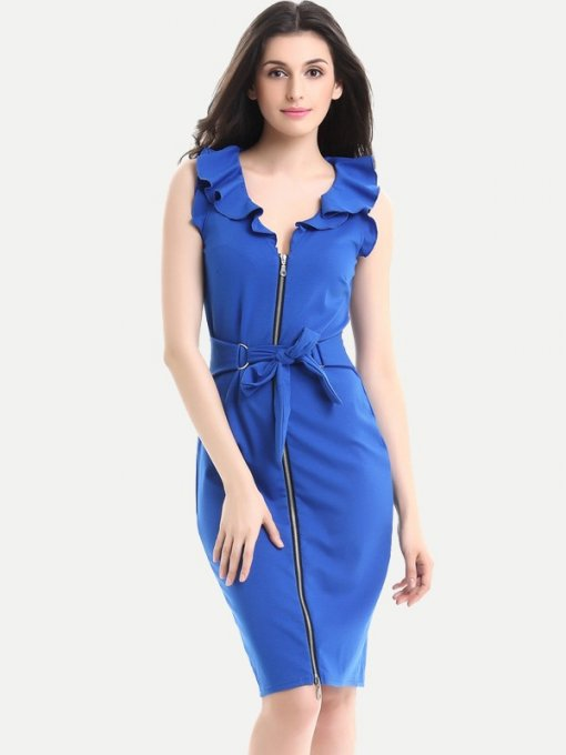 Solid Lacing Zipper Front Sleeveless Work Dress