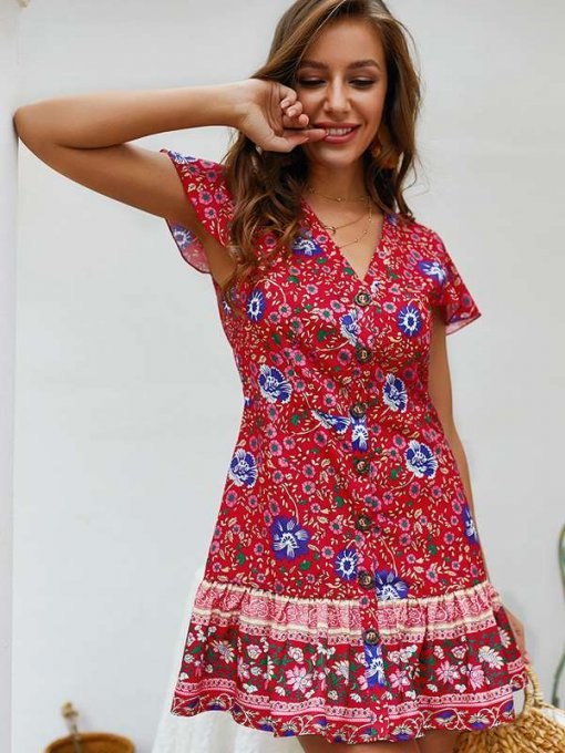 Womens Sexy Floral Print Dress V Neck Ruffles Short Dress With Sleeves