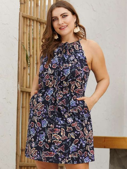 Plus Size Navy Halter Floral Print Beach Dress