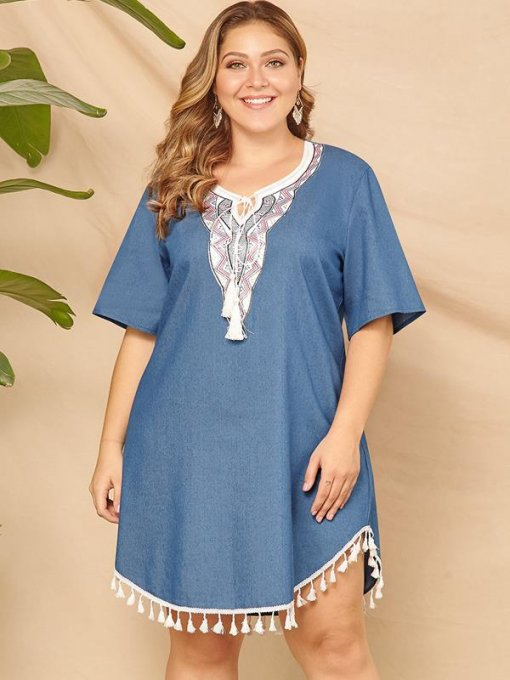 Plus Size V Neck Solid Tassels Denim Blue Short Dress