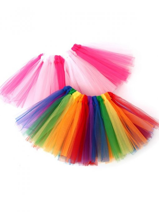 Toddler Girls Color Block Mesh Tutu Skirt