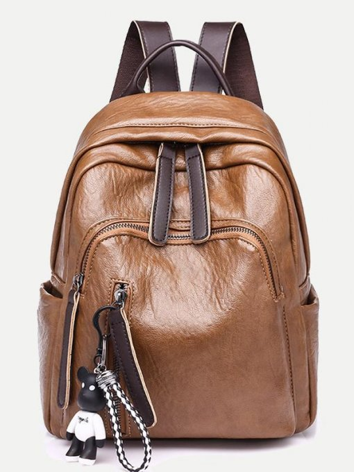 Bear Pendant Faux Leather Backpack