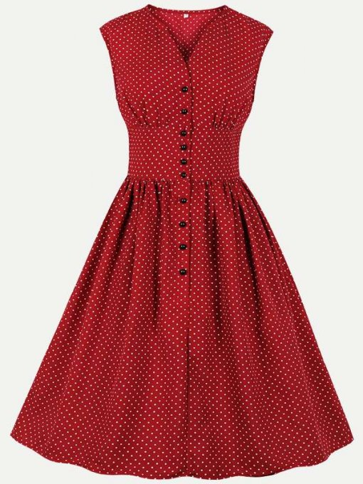 60s Rockabilly Polka Dots Sleeveless Dress