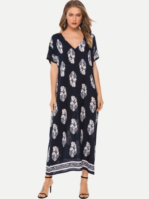 Navy Summer Floral Print Boho Long Maxi Dress