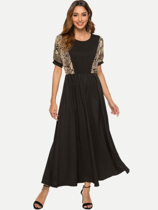Black Casual Snakeskin Long Maxi Dress