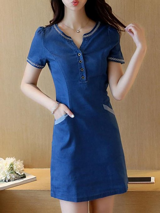 Denim Fitted Solid Short Bodycon Jeans Dress