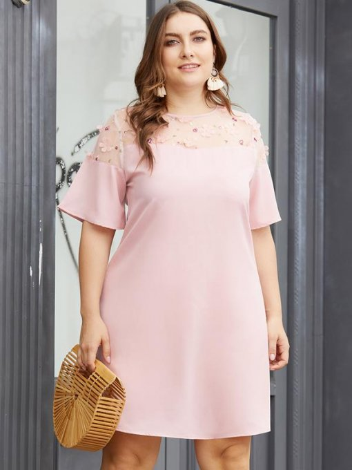 Plus Size Pink Solid Mesh Short Dress