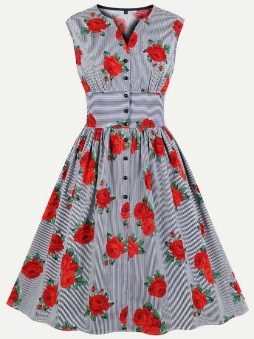 60s Retro Striped Floral Sleeveless Dress