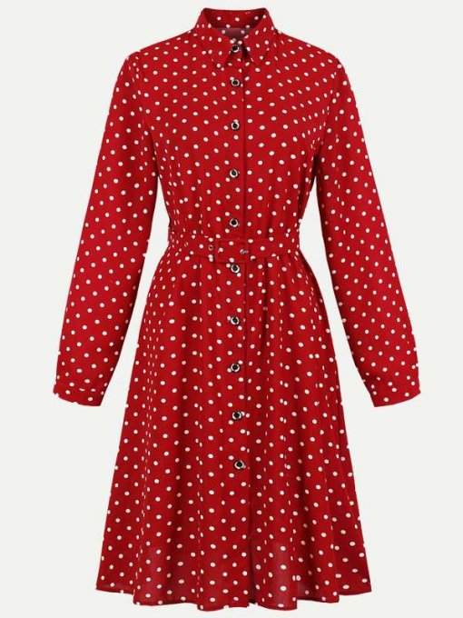 60s Red Polka Dots Long Sleeve Dress