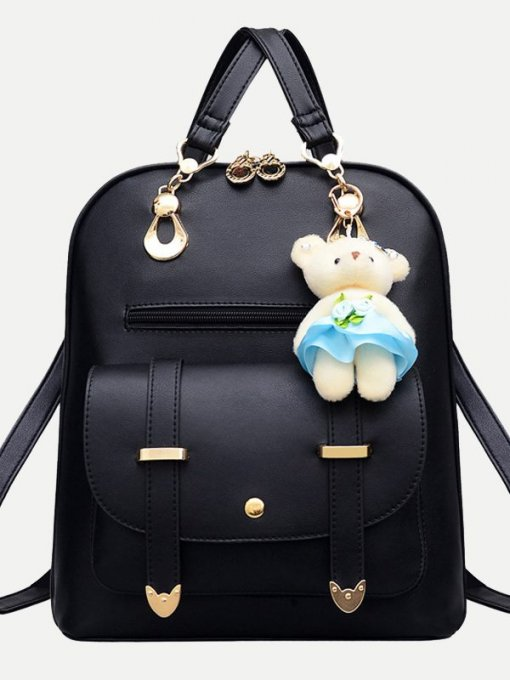 Pocket Front Bear Pendant Backpack
