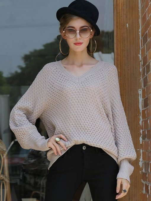 Pink V Neck Knit Sweater