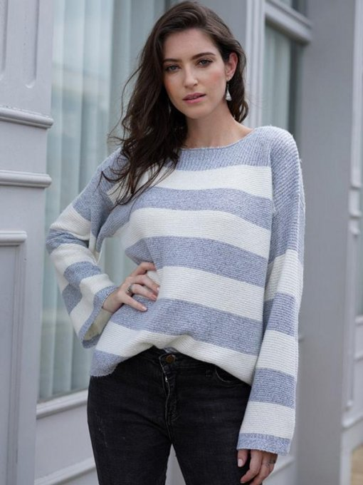 Blue Striped Knit Sweater