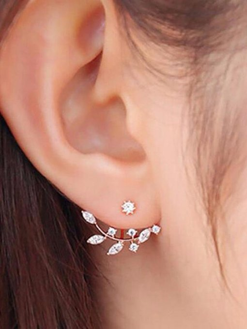 Rhinestones Decor Stud Earrings
