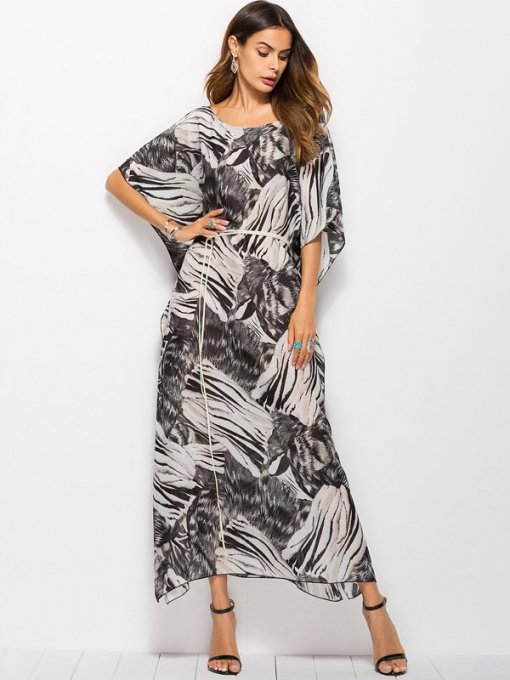 Chiffon Leopard Print Maxi Dress